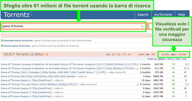 Screenshot della pagina di ricerca di Torrentz2