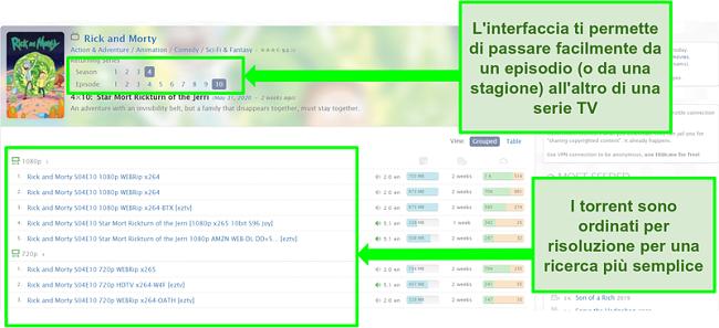 Screenshot della pagina di destinazione di Zooqle