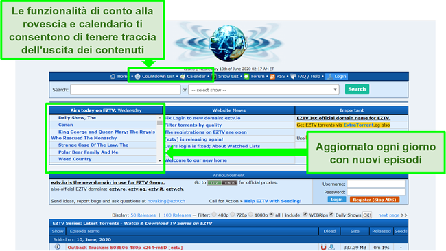 Screenshot della pagina di destinazione di EZTV