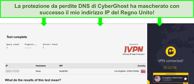 Screenshot di un test di tenuta DNS durante la connessione a CyberGhost