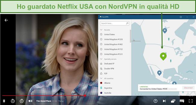 Screenshot dello streaming di The Good Place su Netflix con NordVPN connesso a un server statunitense