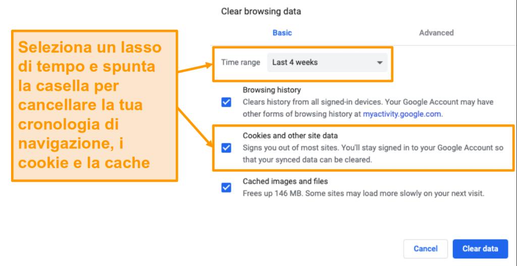 Screenshot della cancellazione della cache e della cronologia di navigazione in Google Chrome