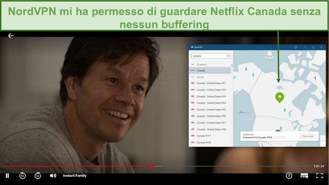 Screenshot di NordVPN che sblocca Netflix Canada durante la riproduzione di Instant Family