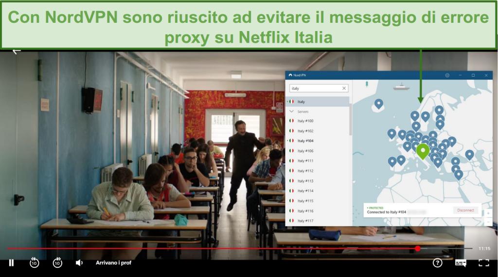 Screenshot di NordVPN che sblocca Netflix Italia durante la riproduzione di Arrivano i Prof