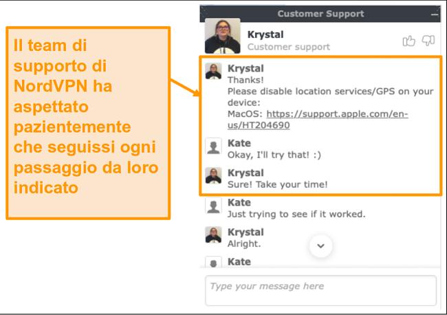 Screenshot della funzione di chat dal vivo dell'assistenza clienti NordVPN
