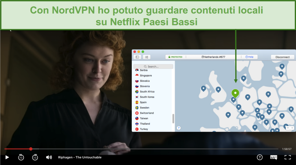 Screenshot dello streaming di contenuti locali su Netflix Paesi Bassi con NordVPN