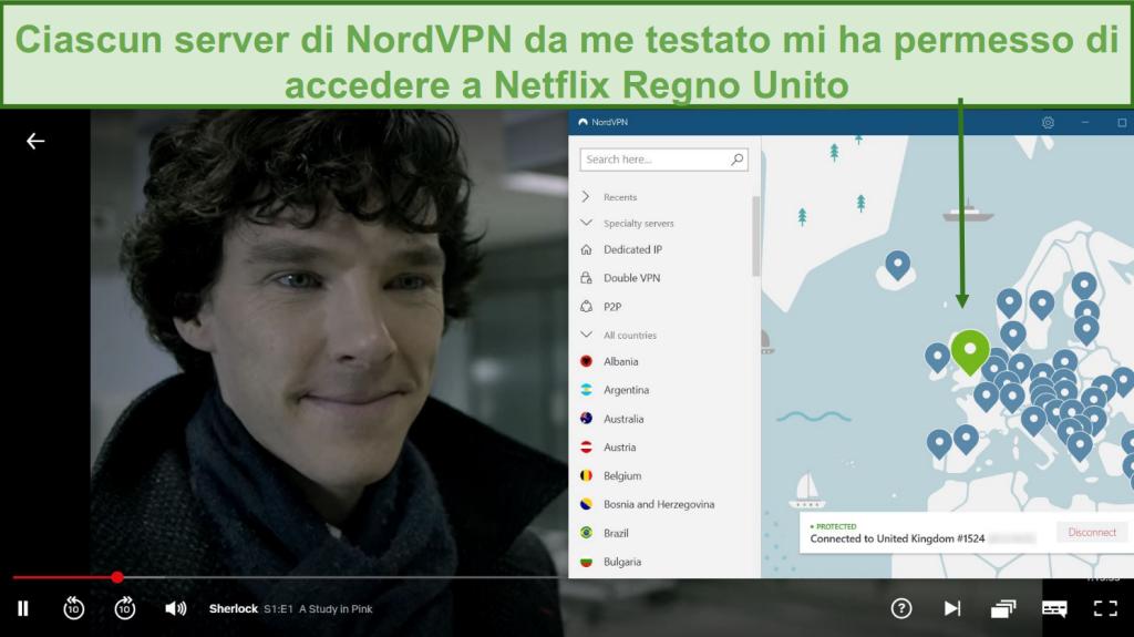 Screenshot di NordVPN che sblocca Netflix UK durante la riproduzione di Sherlock
