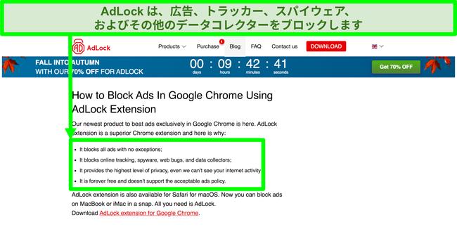 「許容可能な広告」ポリシーがないことを示すAdLockWebサイトのスクリーンショット