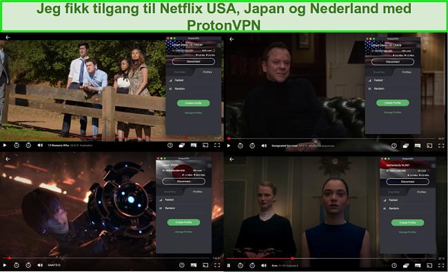 Skjermbilder av ProtonVPN som får tilgang til Netflix USA, Japan og Nederland
