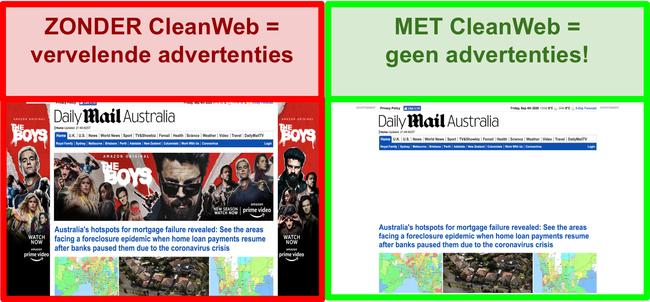 Screenshot van CleanWeb die effectief advertenties verwijdert van de Daily Mail-website.