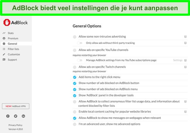 Schermafbeelding met de vele aanpassingsopties van AdBlock