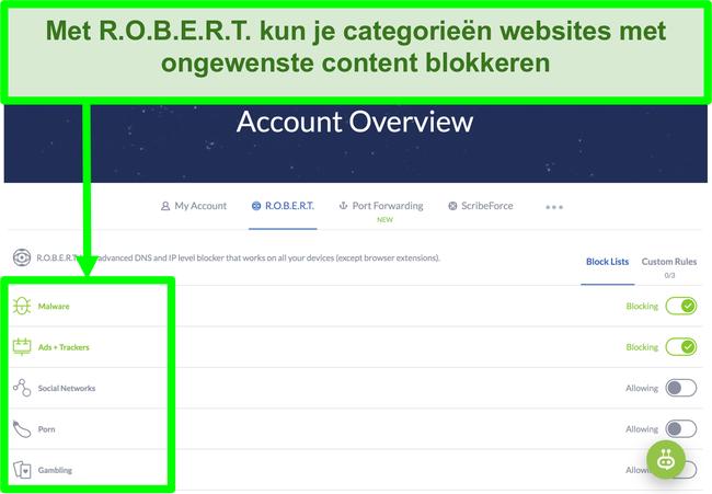 Schermafbeelding van de instellingenpagina van Winscribe met opties om advertenties, malware en categorieën websites te blokkeren