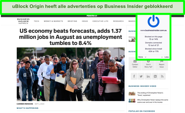 Screenshot van uBlock Origin die alle advertenties op Business Insider blokkeert