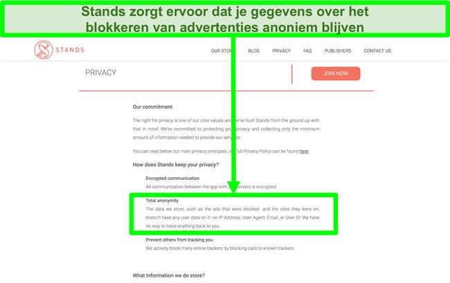 Screenshot van de website van Stands waarin staat dat de gegevens die het heeft over geblokkeerde advertenties nooit zijn gekoppeld aan de persoonlijke informatie van gebruikers