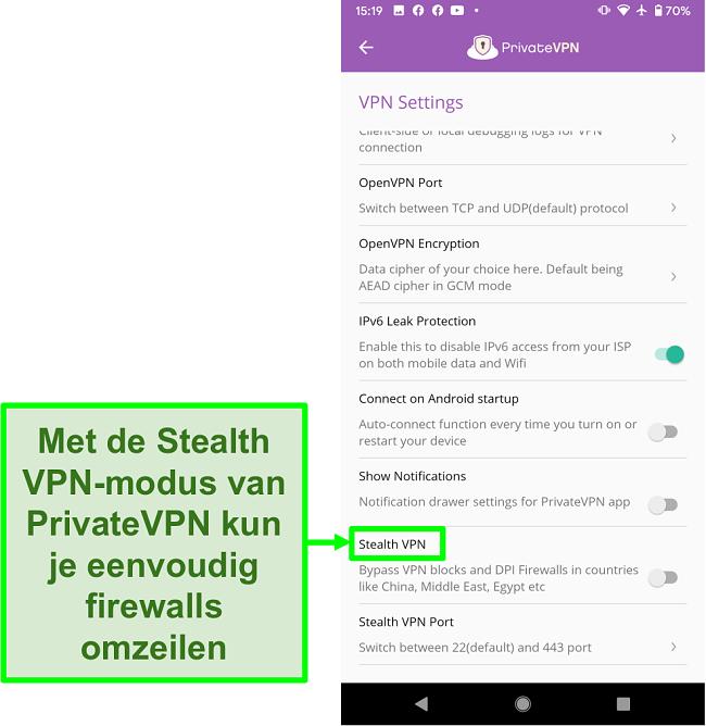 Screenshot van de PrivateVPN Android-app met de Stealth VPN-functie die helpt om VPN-blokkades te omzeilen