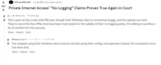 Screenshot of PIA's positive user review comments on Reddit about the validity of PIA's no-logging policy