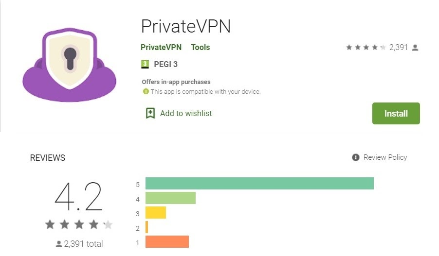 Screenshot of PrivateVPN's Google Play Store review