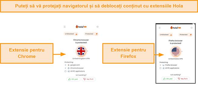 Captură de ecran a extensiilor de browser Chrome și Firefox ale Hola VPN