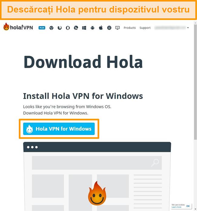 Captură de ecran a paginii de descărcare a Hola VPN