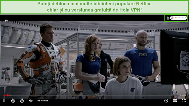 Captură de ecran a Hola VPN care deblochează The Martian pe Netflix SUA