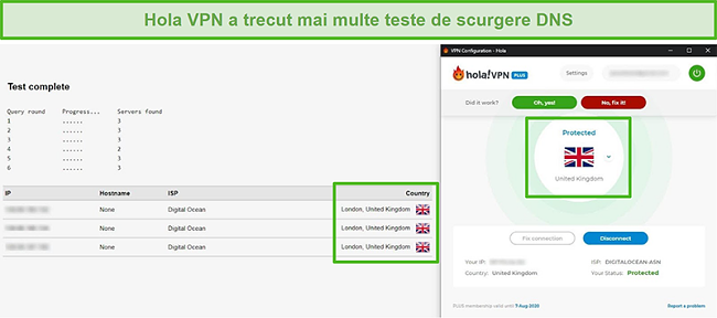 Captură de ecran a Hola VPN care trece testele de scurgere DNS
