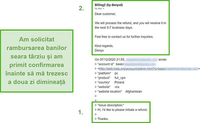 Captură de ecran a unui e-mail de la Hola VPN care confirmă rambursarea în termen de 10 ore de la solicitarea inițială