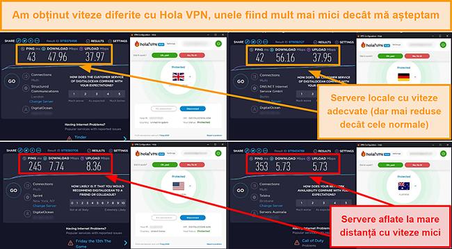 Captură de ecran a testelor de viteză Hola VPN din Marea Britanie (47 Mbps), Germania (56 Mbps), SUA (7 Mbps) și Australia (5 Mbps)