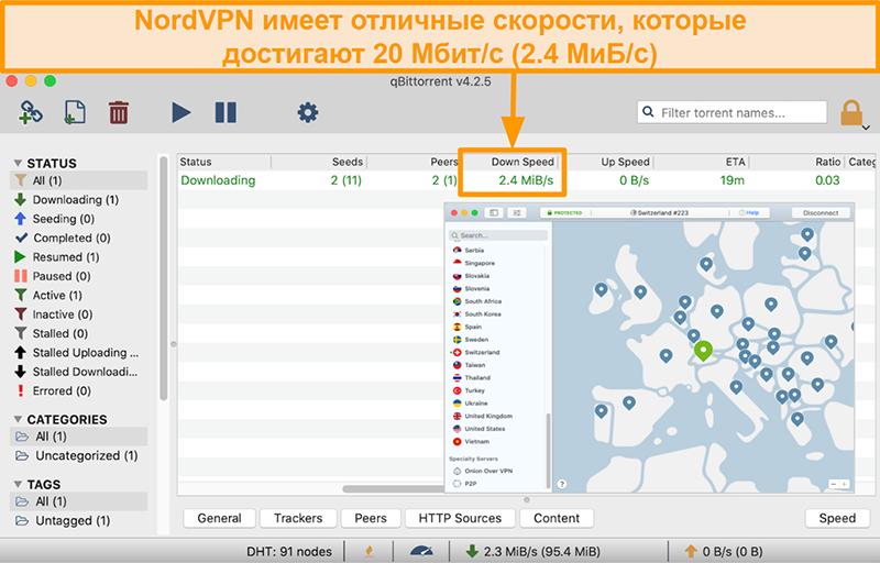 Скриншот сервера NordVPN в Швейцарии с клиентом qBitTorrent, скачивающим торрент-файл