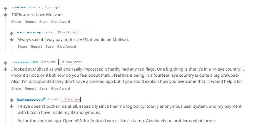 Screenshot of MulladVPN's positive user review comments on Reddit
