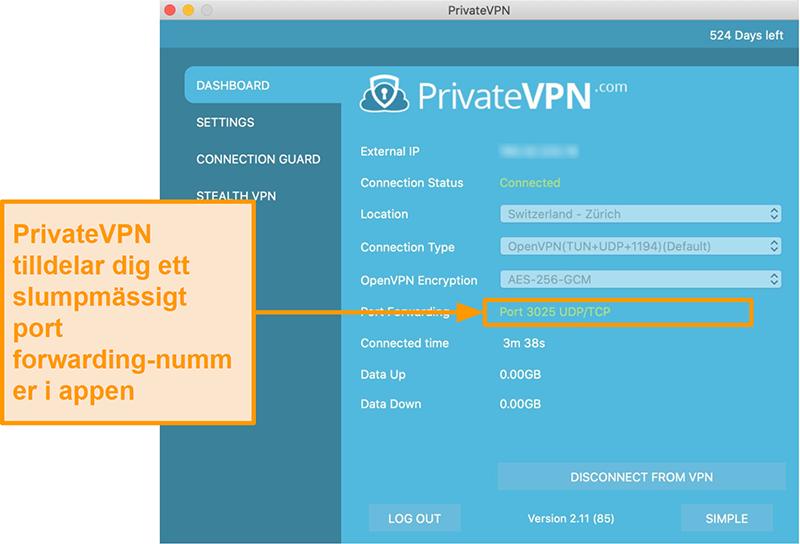 Skärmdump av PrivateVPN med port vidarebefordran nummer synligt i Mac-appen