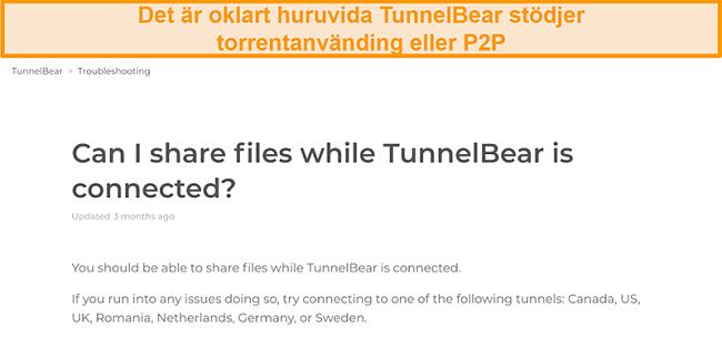 Skärmdump av TunnelBears felsökningssida om fildelning