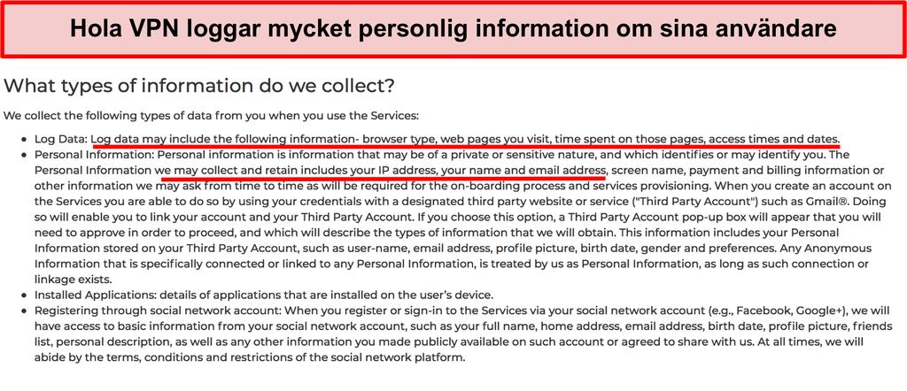 Skärmdump av Hola VPN-sekretesspolicy som visar den loggar IP-adress