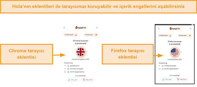 Hola VPN'in Chrome ve Firefox tarayıcı uzantılarının ekran görüntüsü
