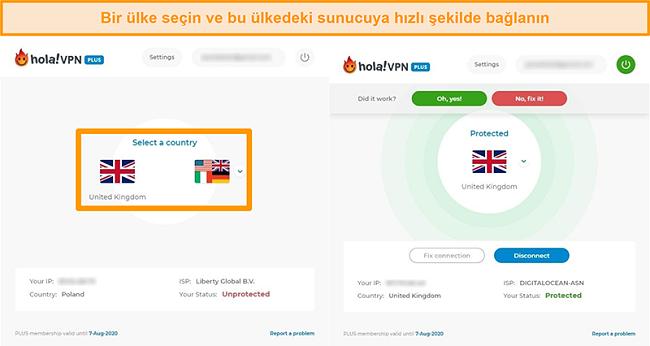 Hola VPN'de belirli bir ülkenin sunucusuna nasıl bağlanılacağını gösteren ekran görüntüleri