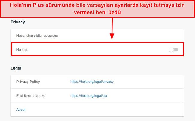 Hola VPN'in kayıt tutmama ayarının ekran görüntüsü