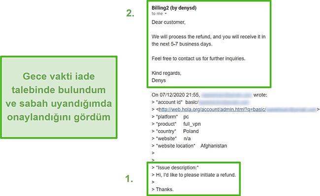Orijinal talepten sonra 10 saat içinde geri ödemeyi onaylayan Hola VPN'den bir e-postanın ekran görüntüsü