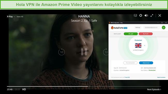 Amazon Prime Video'da HANNA'nın engelini kaldıran Hola VPN ekran görüntüsü