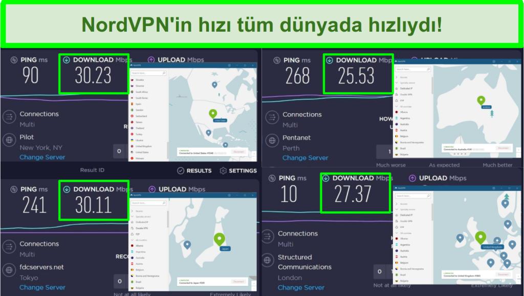 4 farklı sunucuya bağlı NordVPN ile Ookla hız testlerini gösteren ekran görüntüleri