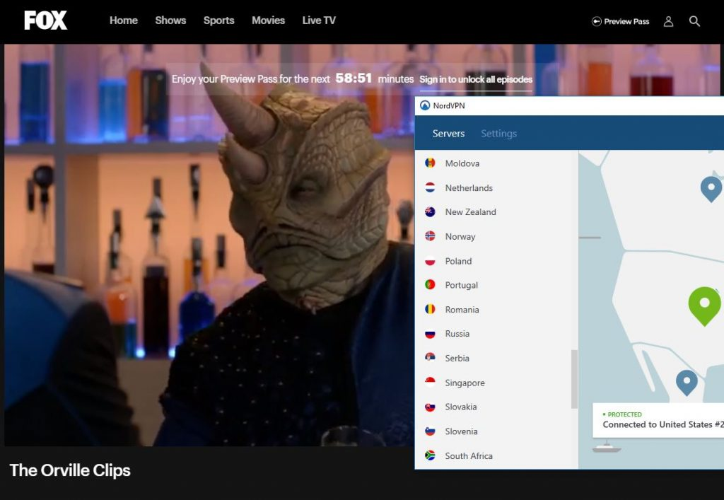Streaming The Orville with NordVPN
