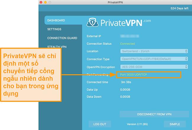 Ảnh chụp màn hình của PrivateVPN với số chuyển tiếp cổng hiển thị trên ứng dụng Mac