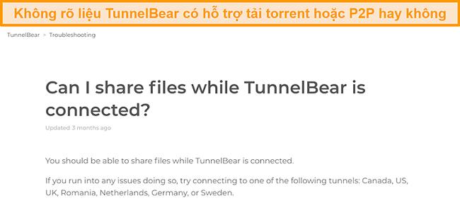 Ảnh chụp màn hình trang khắc phục sự cố của TunnelBear về chia sẻ tệp