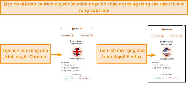 Ảnh chụp màn hình các tiện ích mở rộng trình duyệt Chrome và Firefox của Hola VPN
