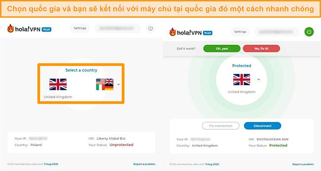 Ảnh chụp màn hình cho thấy cách kết nối với máy chủ của một quốc gia cụ thể trong Hola VPN