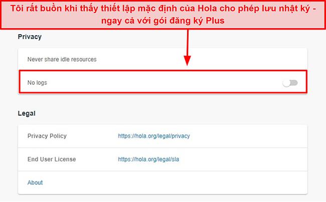 Ảnh chụp màn hình cài đặt không có nhật ký của Hola VPN