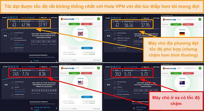 Ảnh chụp màn hình các bài kiểm tra tốc độ VPN của Hola từ Anh (47 Mb / giây), Đức (56 Mb / giây), Mỹ (7 Mb / giây) và Úc (5 Mb / giây)