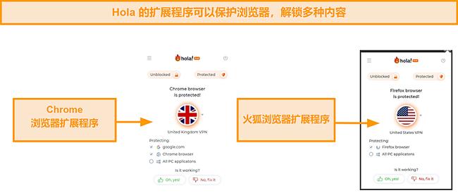 Hola VPN的Chrome和Firefox浏览器扩展的屏幕截图