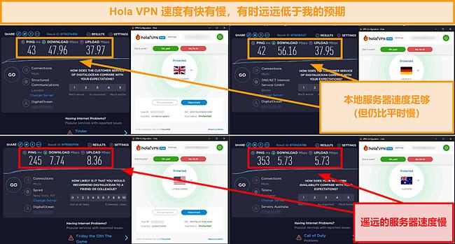 来自英国(47 Mbps),德国(56 Mbps),美国(7 Mbps)和澳大利亚(5 Mbps)的Hola VPN速度测试的屏幕截图
