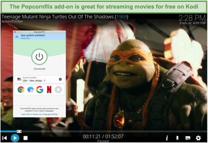 Screenshot of TMNT playing via Popcornflix on Kodi