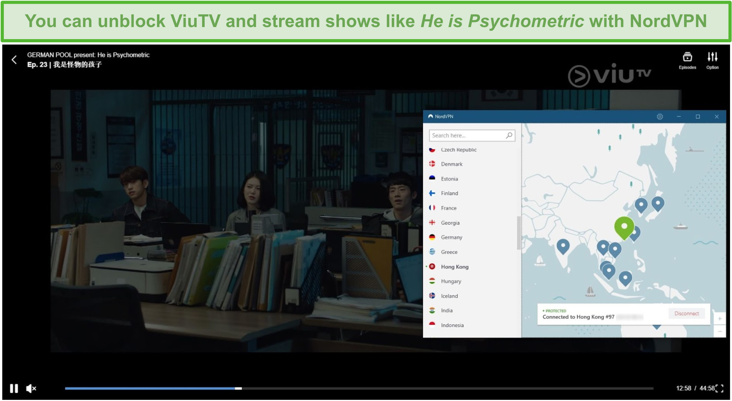Screenshot of NordVPN unblocking ViuTV and streaming He is Psychometric, while connected to a Hong Kong server.