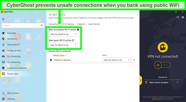 Screenshot of CyberGhost's connection Smart Rules settings page